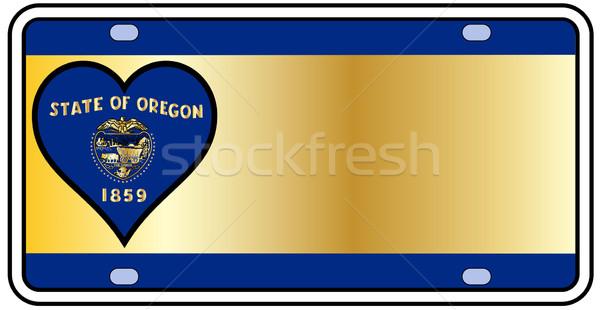 Орегон номерной знак цветами флаг иконки белый Сток-фото © Bigalbaloo