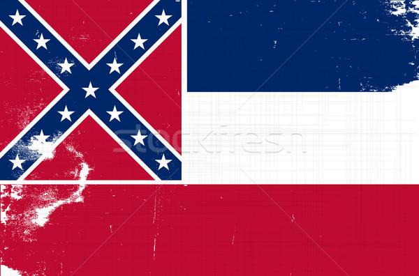 Mississipi grunge bayrak ABD Yıldız beyaz Stok fotoğraf © Bigalbaloo