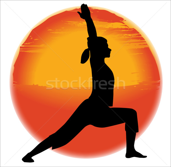 Virabhadra Yoga Pose Stock photo © Bigalbaloo