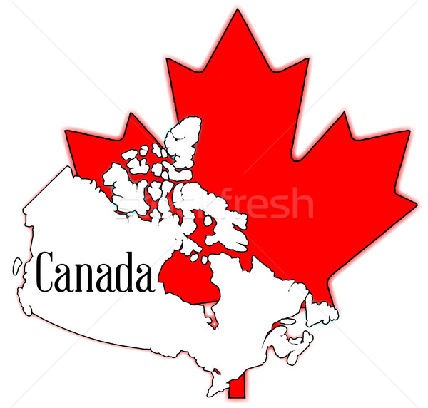 Maple leaf mapa Canadá branco grande Foto stock © Bigalbaloo