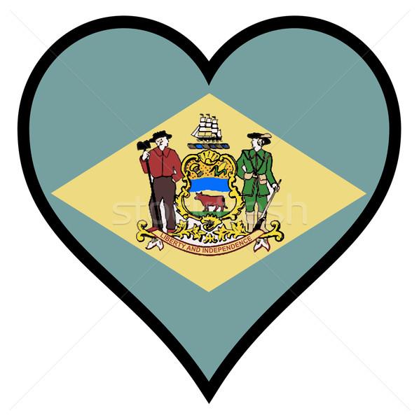 Sevmek Delaware bayrak kalp tüm beyaz Stok fotoğraf © Bigalbaloo