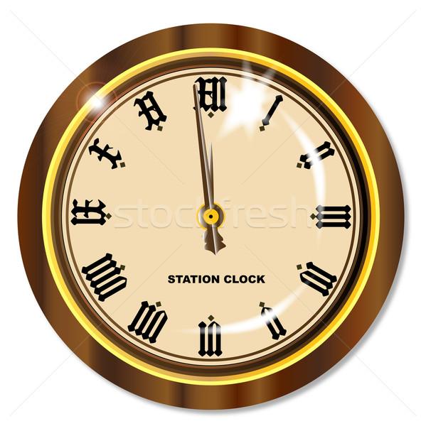 állomás óra hagyományos vasútállomás akasztás izolált Stock fotó © Bigalbaloo