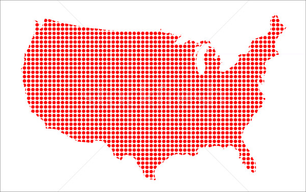 Red Dot Map of The U.S.of A. Stock photo © Bigalbaloo