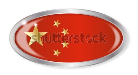 Chińczyk banderą owalny przycisk srebrny odizolowany Zdjęcia stock © Bigalbaloo