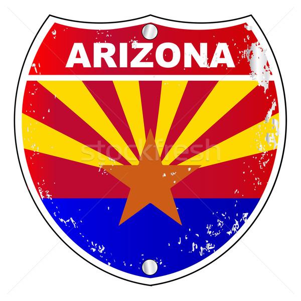 Arizona eyaletler arası imzalamak bayrak çapraz beyaz Stok fotoğraf © Bigalbaloo