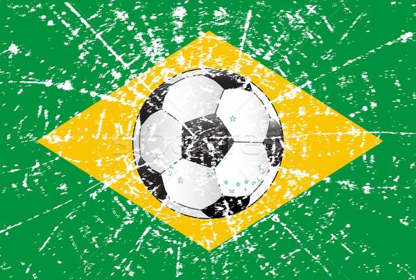 ストックフォト: グランジ · サッカー · フラグ · ブラジル · サッカー · 青