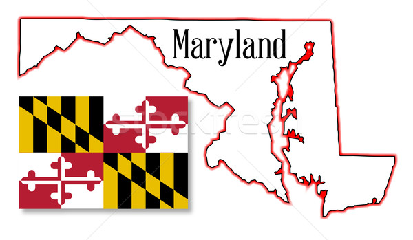Maryland State Map and Flag Stock photo © Bigalbaloo