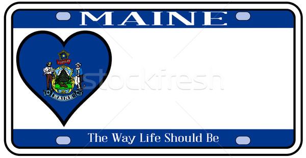 Maine kentekenplaat kleuren vlag iconen witte Stockfoto © Bigalbaloo