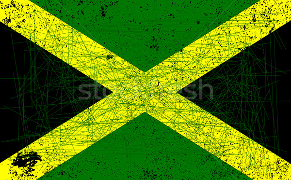 Vlag Jamaica zwaar grunge achtergrond groene Stockfoto © Bigalbaloo