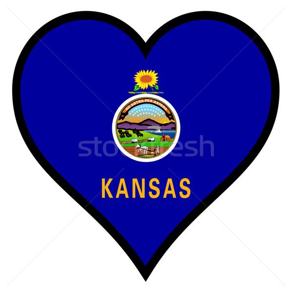 Sevmek Kansas bayrak kalp tüm beyaz Stok fotoğraf © Bigalbaloo