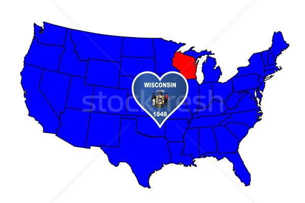 Висконсин икона набор карта Соединенные Штаты Сток-фото © Bigalbaloo