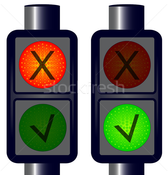 çapraz trafik ışıkları kırmızı yeşil durdurmak çizim Stok fotoğraf © Bigalbaloo