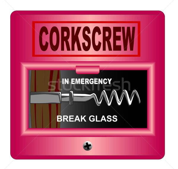 ストックフォト: 緊急 · コークスクリュー · ブレーク · ガラス · 火災警報 · 白