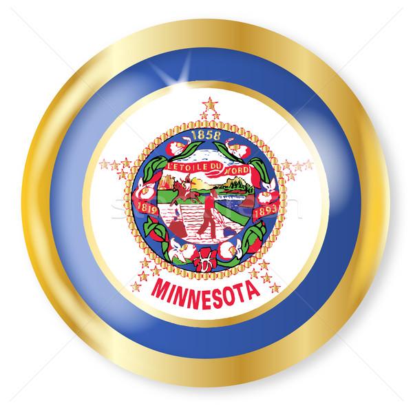 Minnesota bandeira botão ouro metal Foto stock © Bigalbaloo