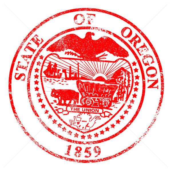 Oregon selar branco vermelho carimbo Foto stock © Bigalbaloo
