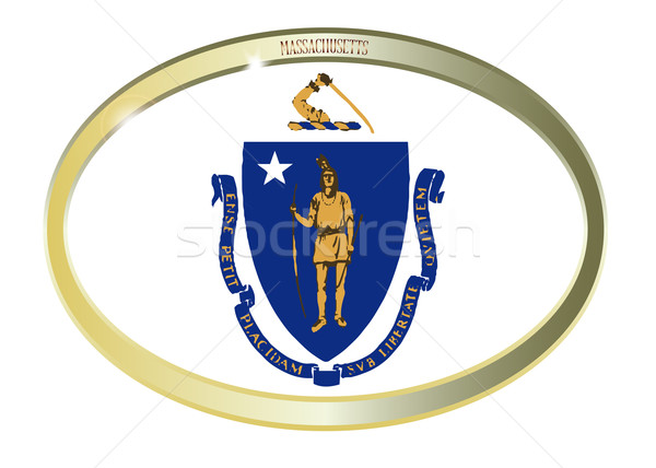Massachusetts State Flag Oval Button Stock photo © Bigalbaloo