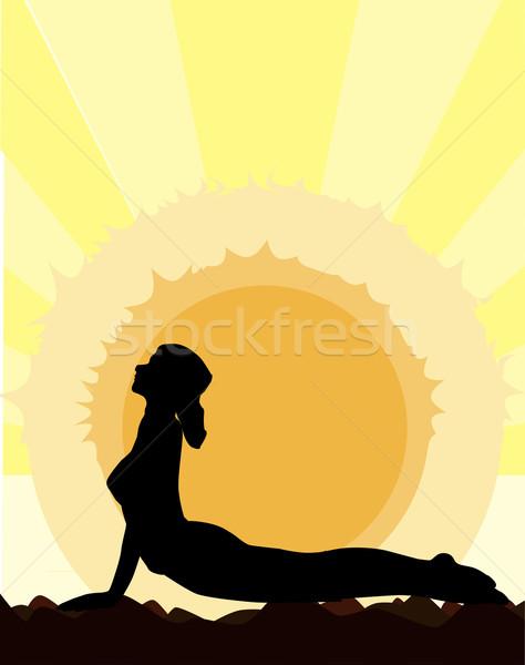 Ioga cobra pose mulher Foto stock © Bigalbaloo