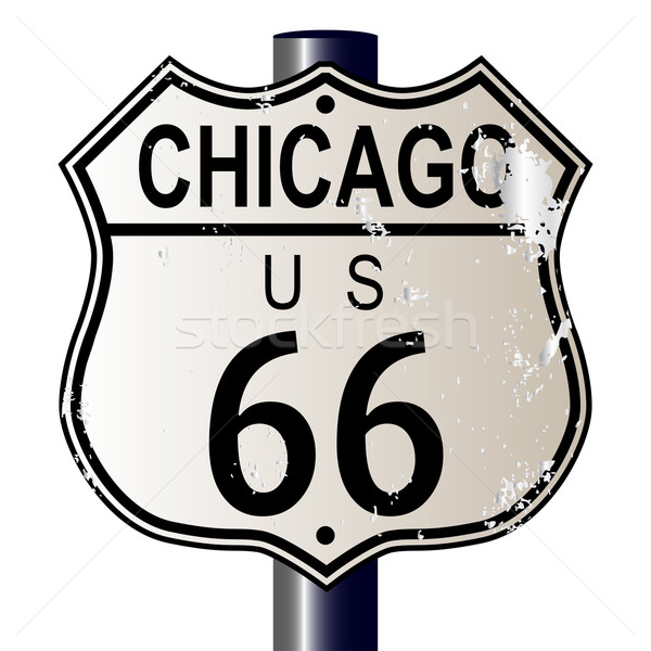Chicago Route 66 Highway Sign Stock photo © Bigalbaloo