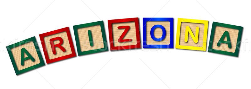 アリゾナ州 木製 文字 コレクション 綴り 白 ストックフォト © Bigalbaloo
