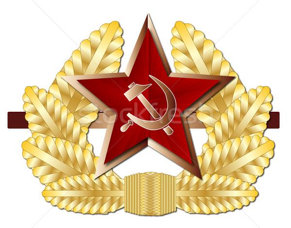 Szovjet sapka kitűző orosz hadsereg fogzománc Stock fotó © Bigalbaloo