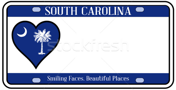 Южная Каролина номерной знак цветами флаг иконки белый Сток-фото © Bigalbaloo
