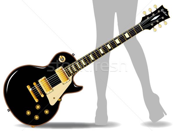 Blues benen rock rollen gitaar zwarte Stockfoto © Bigalbaloo