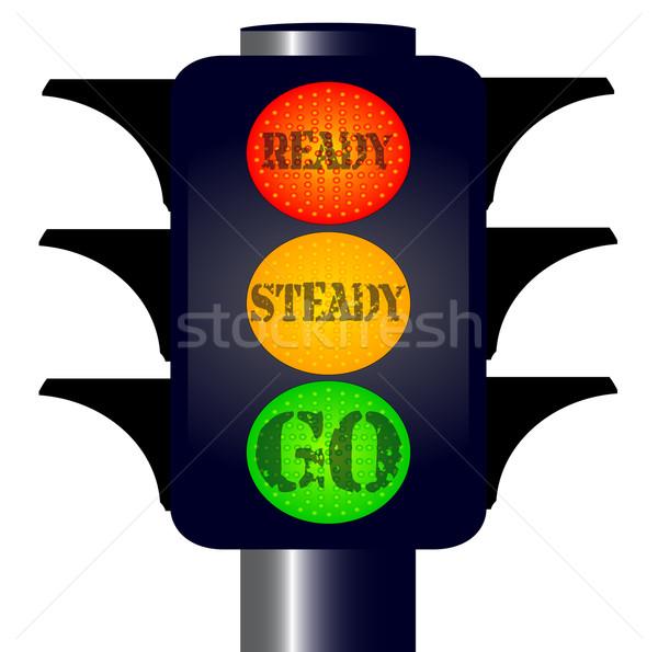 готовый устойчивый светофор оранжевый весело красный Сток-фото © Bigalbaloo