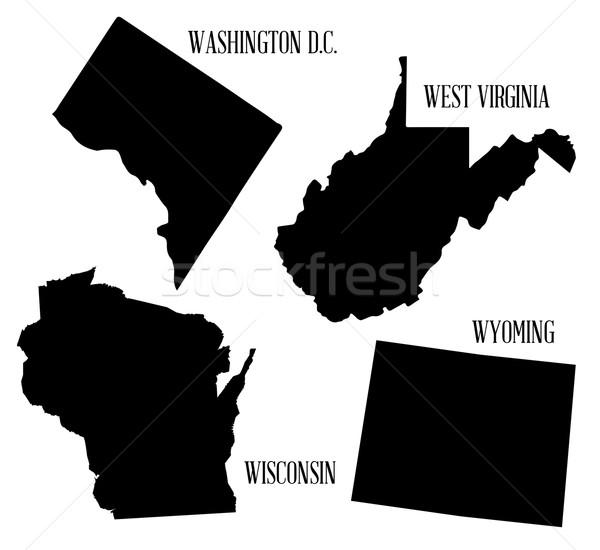 Sziluett gyűjtemény térkép rajz grafikus Nyugat-Virginia Stock fotó © Bigalbaloo