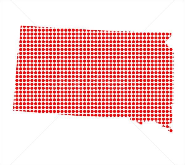 Red Dot Map of South Dakota Stock photo © Bigalbaloo