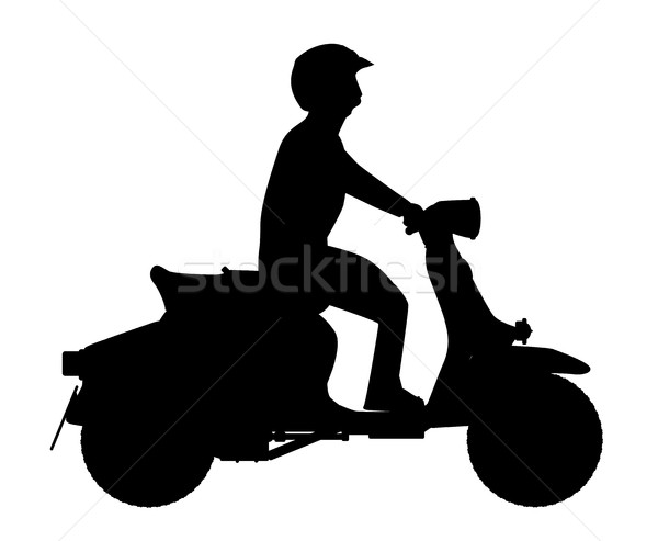 Scooter Rider Silhouette Stock photo © Bigalbaloo