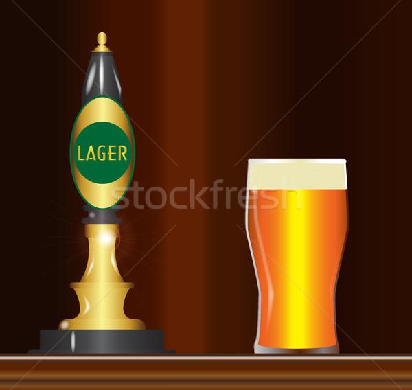 Alman birası bar geleneksel tipik bira imzalamak Stok fotoğraf © Bigalbaloo