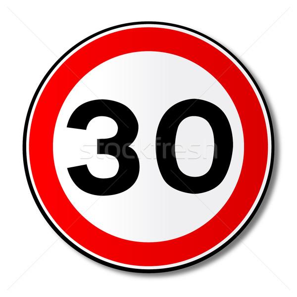 30 миль / ч дорожный знак большой красный Сток-фото © Bigalbaloo
