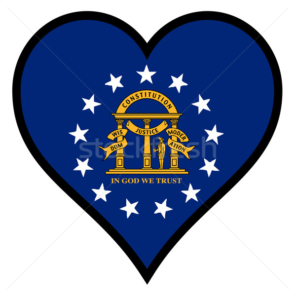 Sevmek Georgia kalp tüm beyaz bayrak Stok fotoğraf © Bigalbaloo