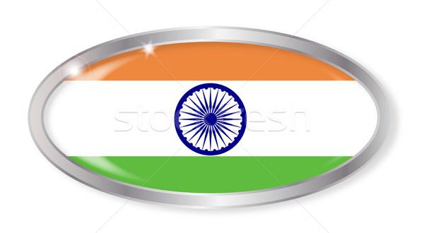 Индия флаг овальный кнопки серебро индийской Сток-фото © Bigalbaloo