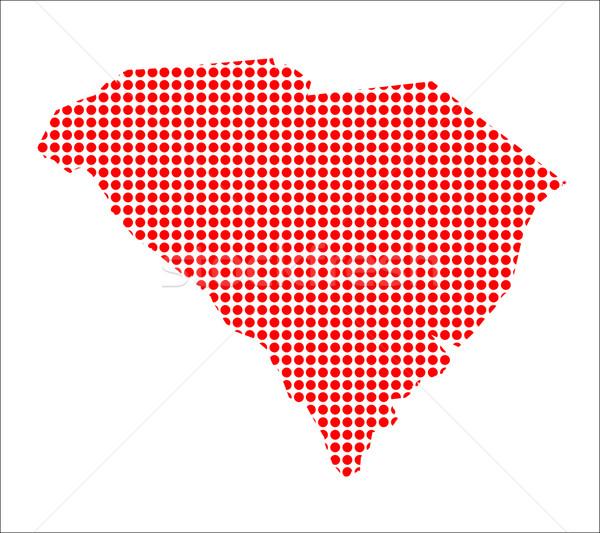 Rosso punto mappa Carolina del Sud sfondo metal Foto d'archivio © Bigalbaloo