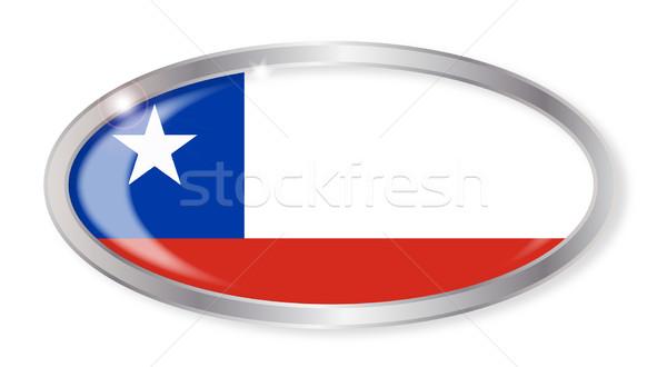 Chile zászló ovális gomb ezüst izolált Stock fotó © Bigalbaloo