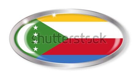 Comore-szigetek zászló ovális gomb ezüst izolált Stock fotó © Bigalbaloo