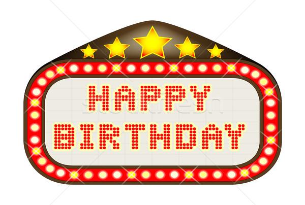 Cinema Marquee Happy Birthday Stock photo © Bigalbaloo