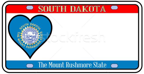 Южная Дакота номерной знак цветами флаг иконки белый Сток-фото © Bigalbaloo