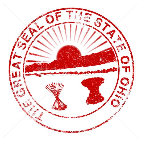 オハイオ州 シール 白 赤 スタンプ ストックフォト © Bigalbaloo