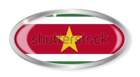 スリナム フラグ オーバル ボタン 銀 孤立した ストックフォト © Bigalbaloo