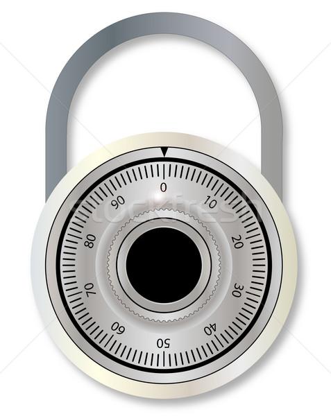 Serrure à combinaison fermé cadenas blanche dessin sécurité Photo stock © Bigalbaloo
