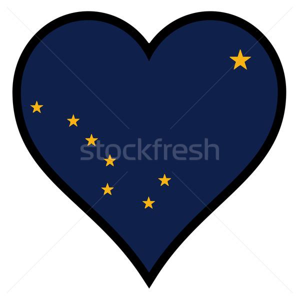 Amor Alasca bandeira coração branco Foto stock © Bigalbaloo