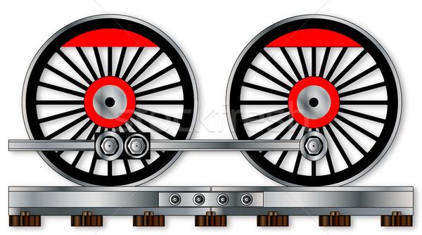 Paire train roues vapeur conduite isolé Photo stock © Bigalbaloo