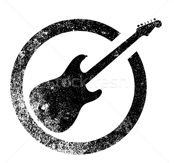 Black Guitar Ink Stamp Stock photo © Bigalbaloo