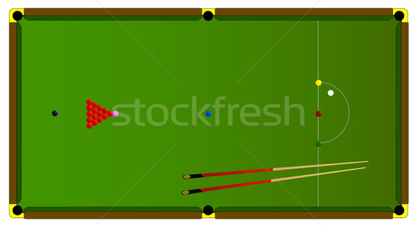 Snooker asztal tipikus tele méret golyók Stock fotó © Bigalbaloo