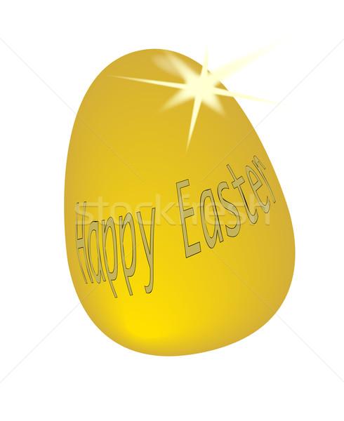 Goud easter egg gouden woorden vrolijk pasen geïsoleerd Stockfoto © Bigalbaloo