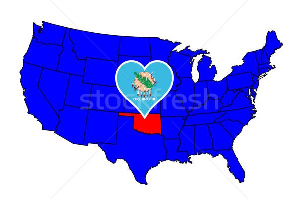 Oklahoma ícone conjunto mapa Estados Unidos Foto stock © Bigalbaloo