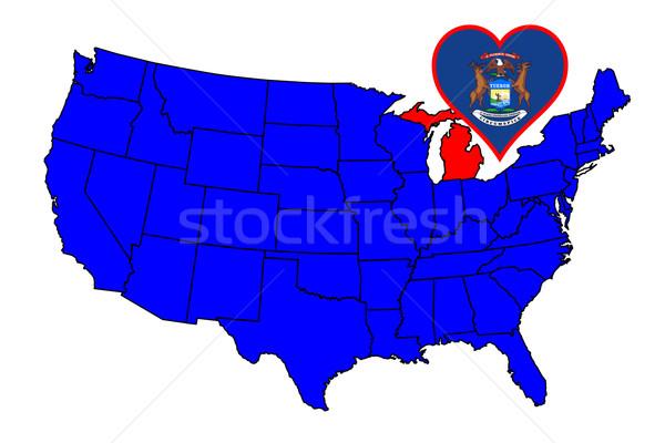 Michigan skicc ikon szett térkép Egyesült Államok Stock fotó © Bigalbaloo