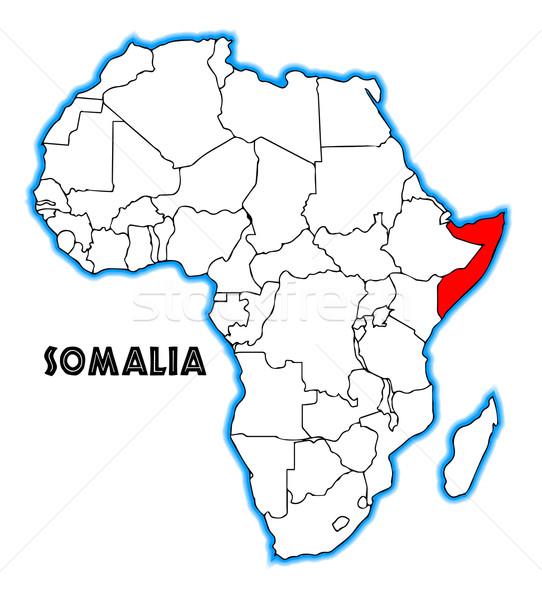 ソマリア 地図 アフリカ 白 黒 ストックフォト © Bigalbaloo
